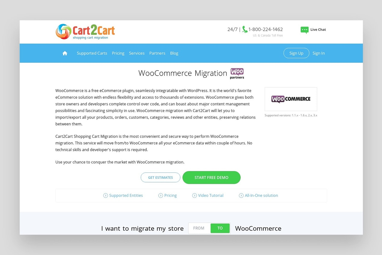 screen from Cart2Cart showing how to migrate from Shopify to WooCommerce