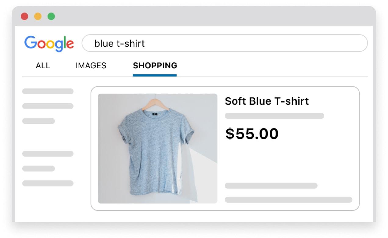 Google Shopping ad for a soft blue t-shirt