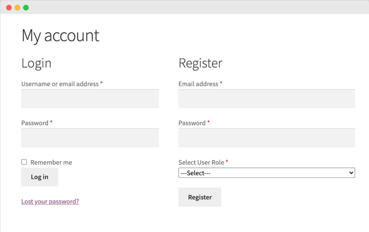 Choose User Role extension screenshot