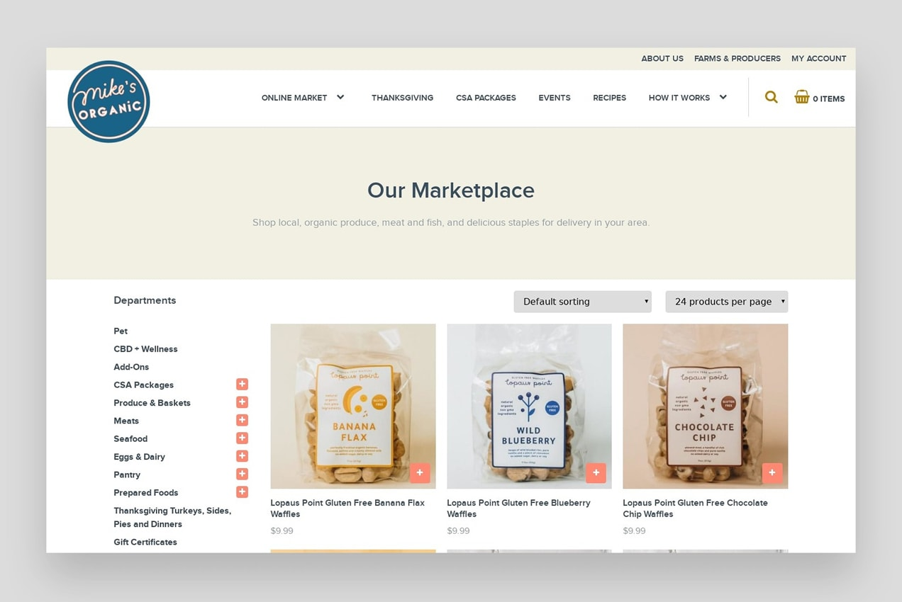 screenshot of WooCommerce site, Mike's Organic Delivery, showing a product page