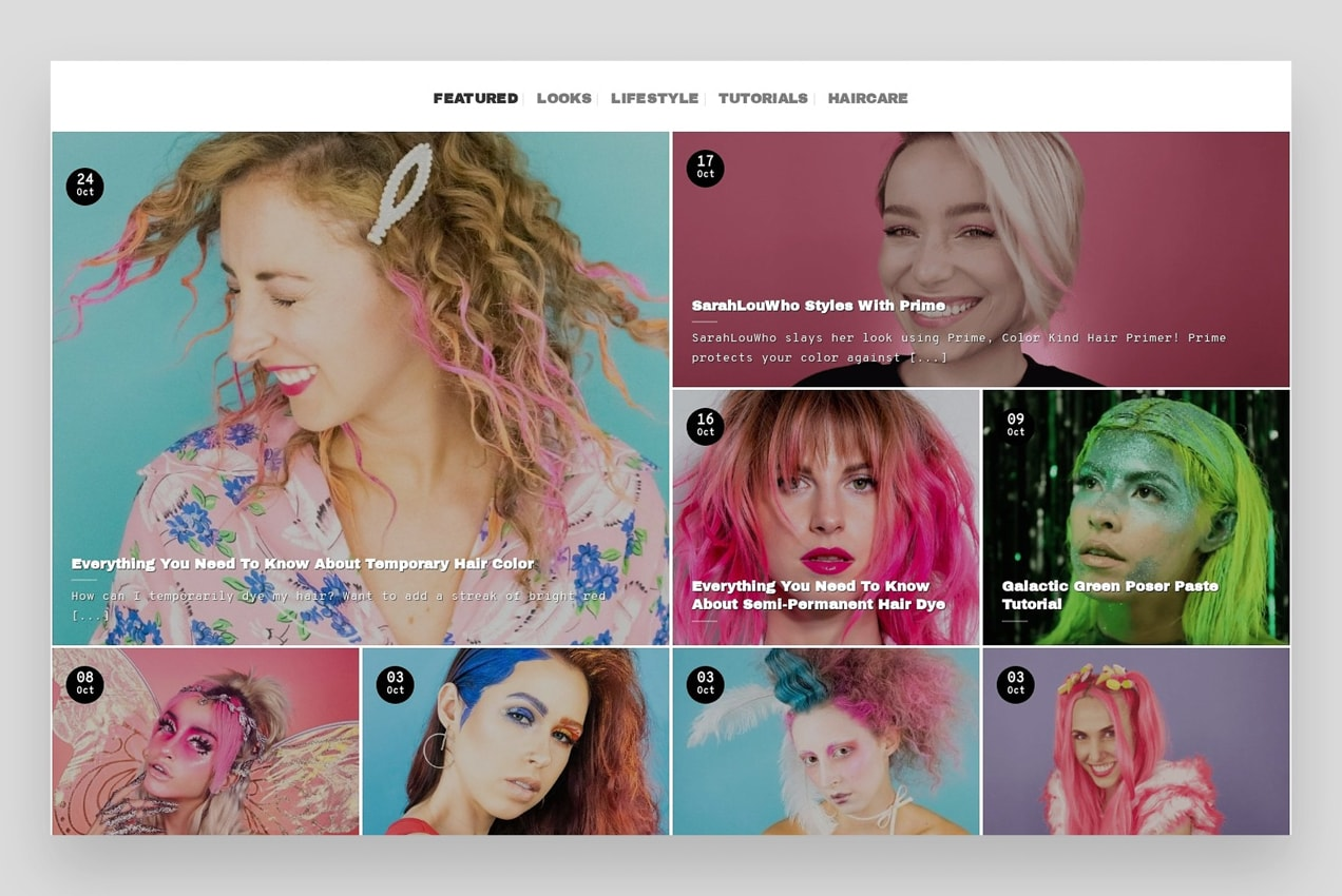 Good Dye Young blog with a grid of attractive photos