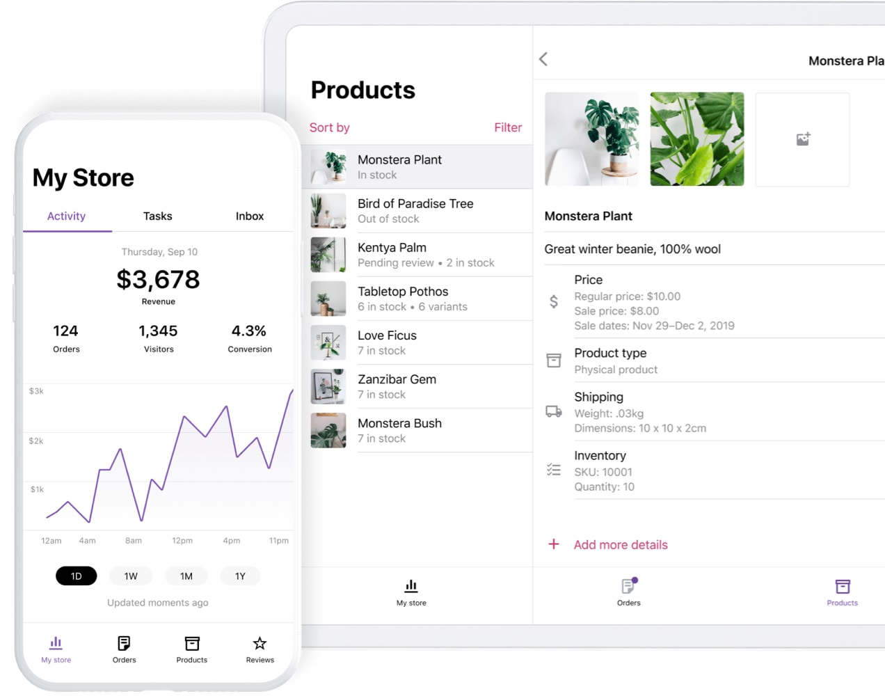 WooCommerce mobile app showing analytics and products