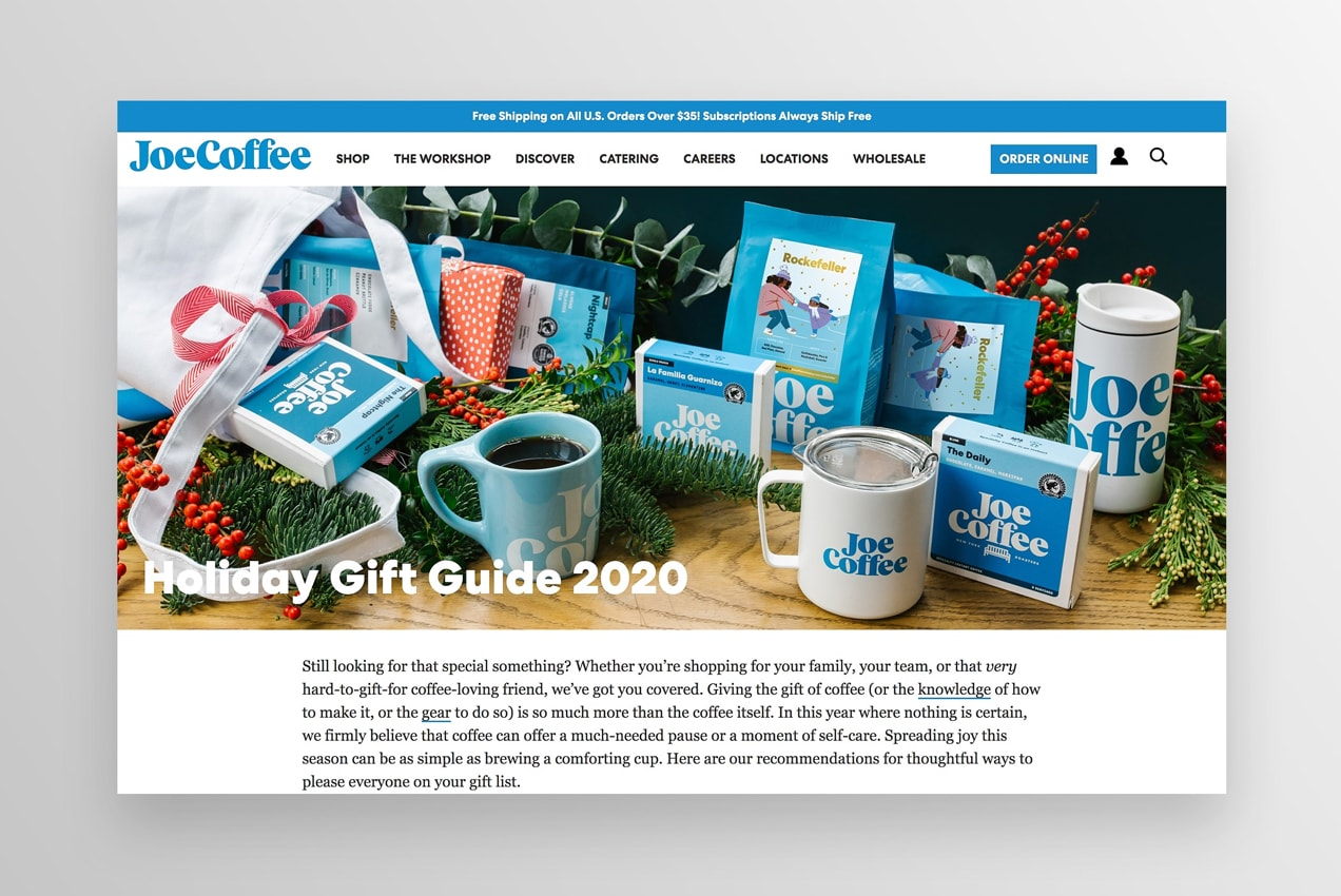 holiday gift guide from Joe Coffee Company