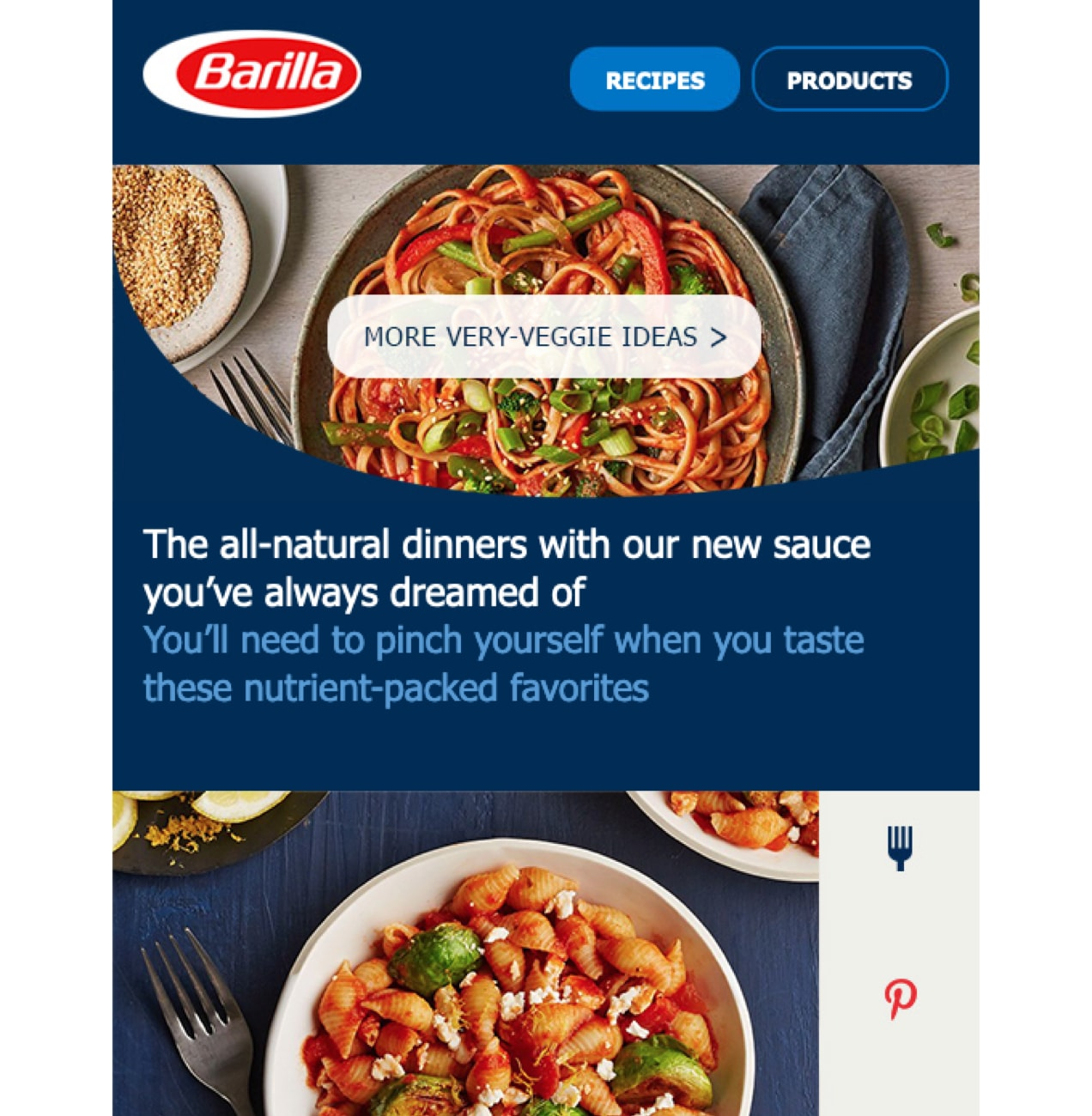 An email from Barilla with recipes