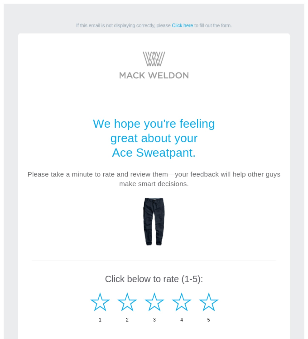 Mack Weldon email asking a customer for a review on the sweatpants they purchased