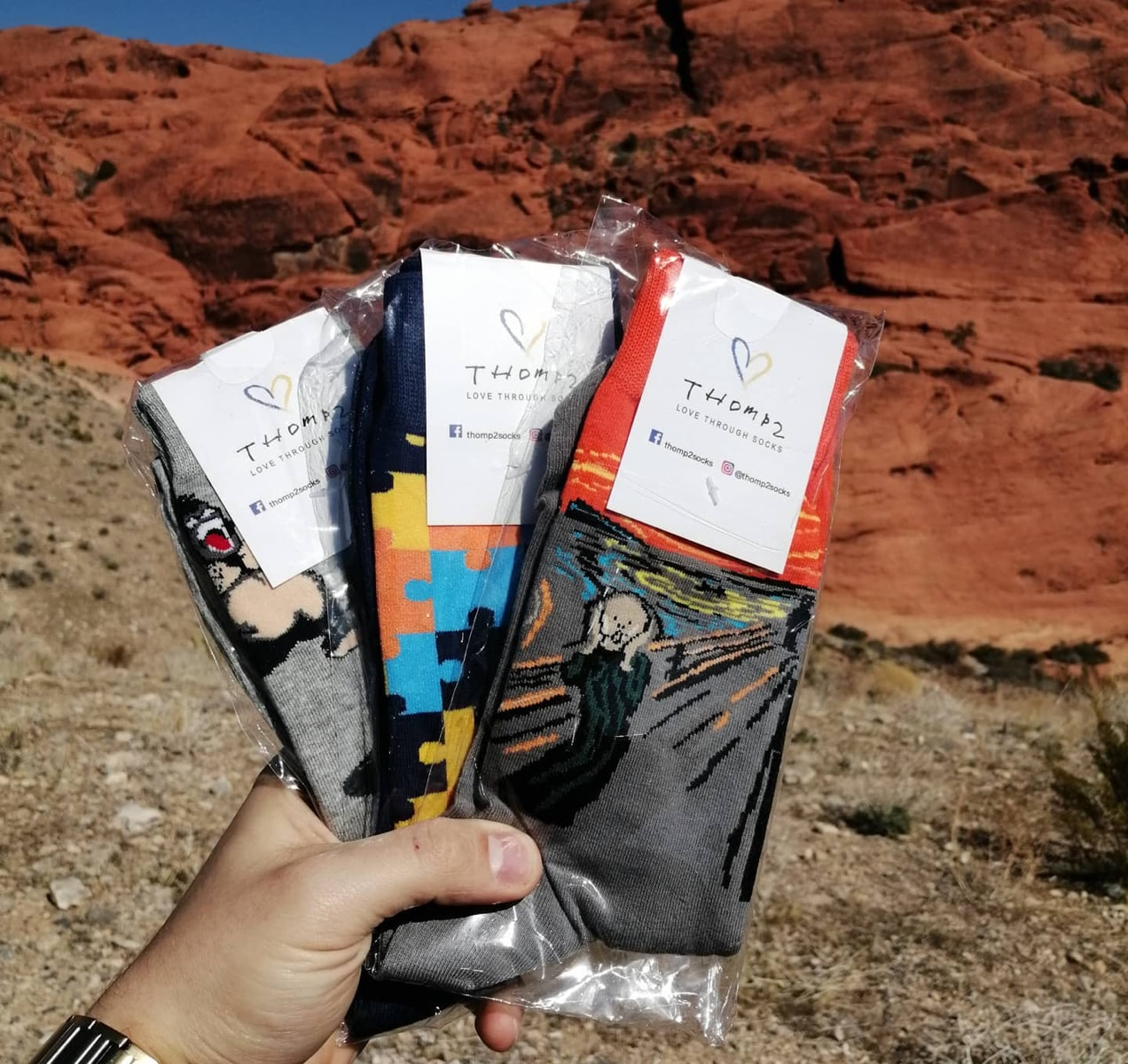 three pairs of socks held in front of a canyon