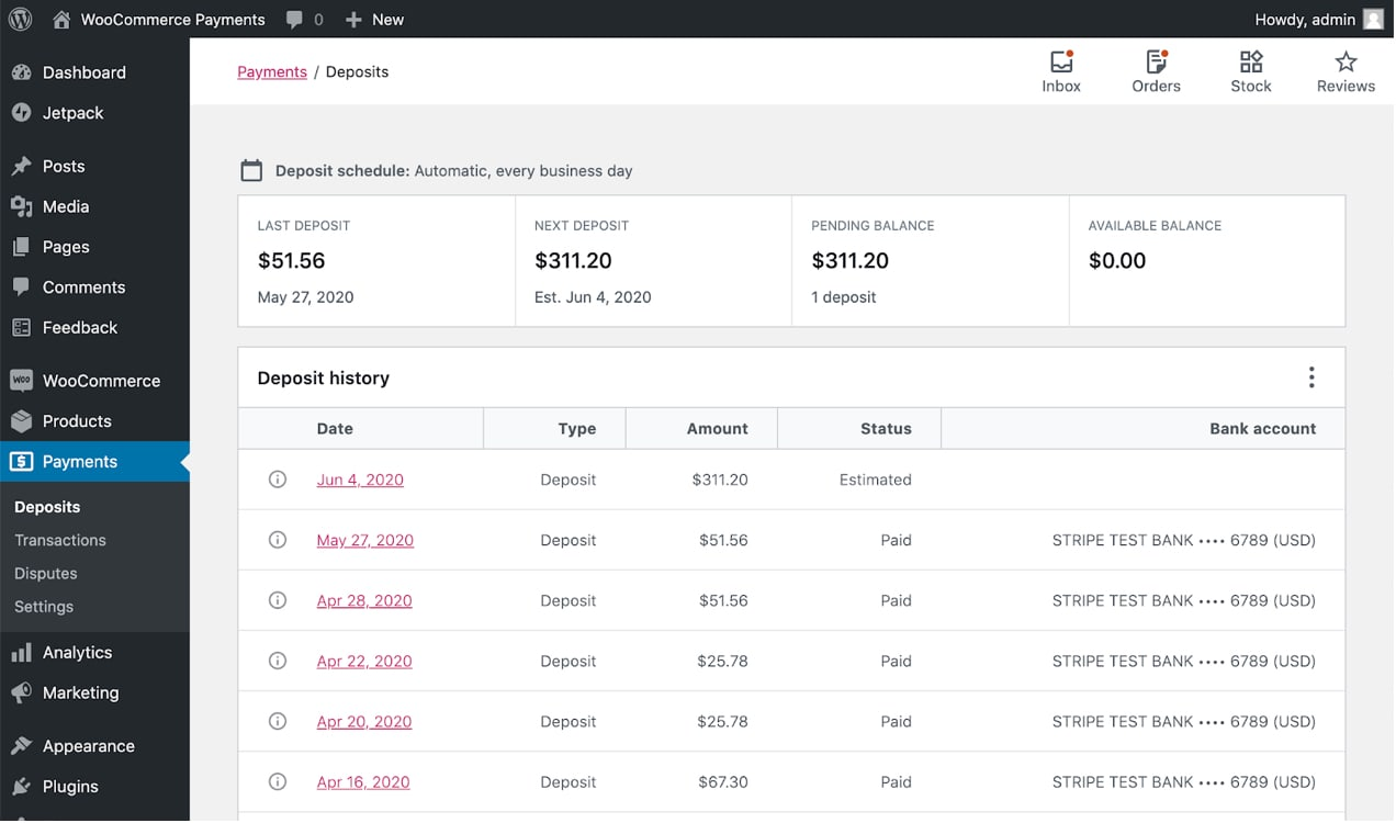 WooCommerce Payments dashboard