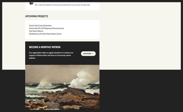"""Footer widget area with a black box that reads, """"Become a monthly patron"""" with paragraph text and a """"Join now"""" button in a separate column. A painted image of waves hitting rocks is directly below with no space between them."""
