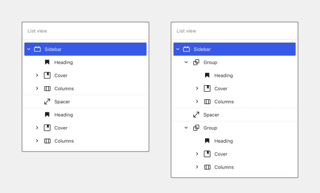 Side-by-side comparison of List View of a Sidebar widget area with and without grouped/nested lockups.