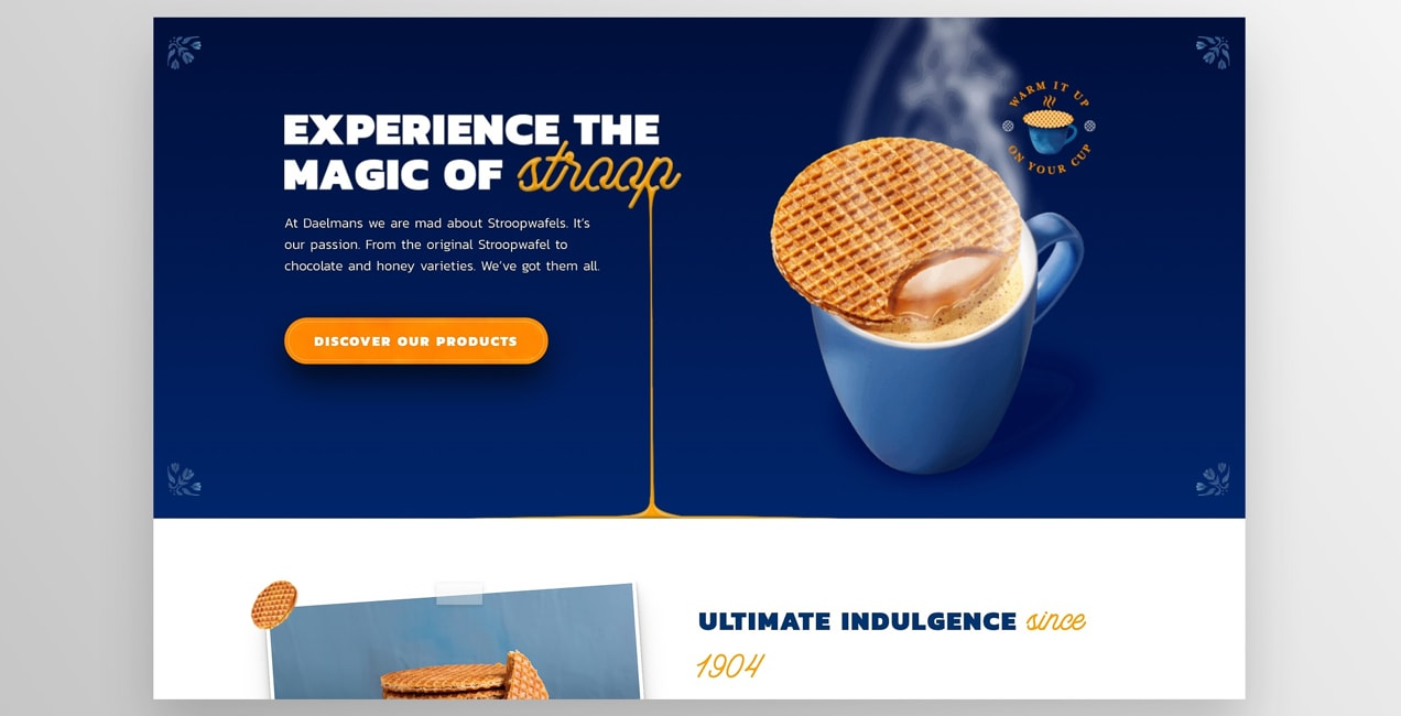 Daelman's uses an orange button that stands out from the blue background