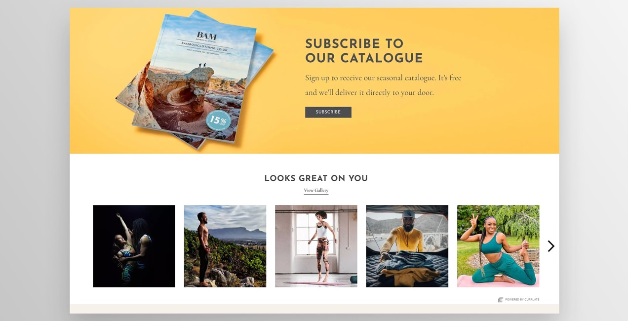 CTA on BAM Bamboo Clothing's site asking visitors to subscribe and get a catalog