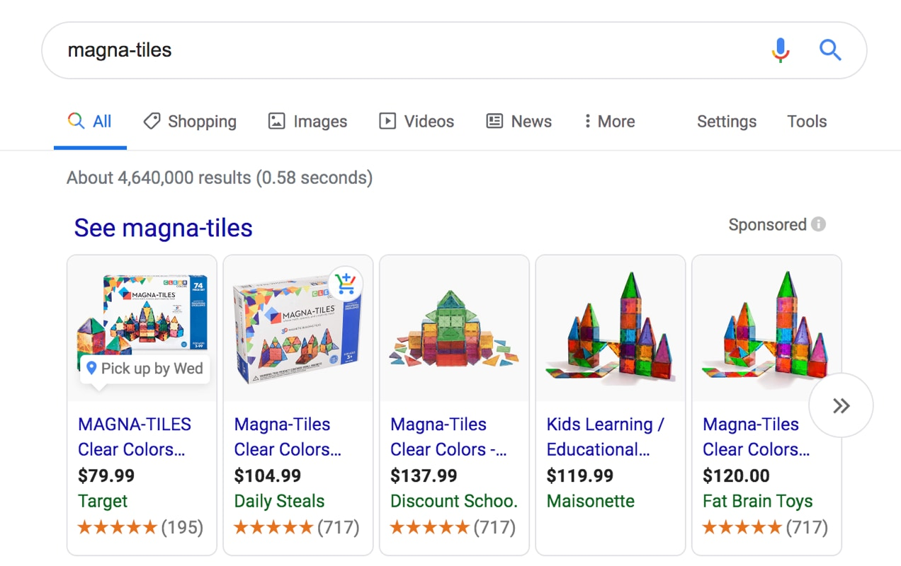 Magna-Tiles products in Google
