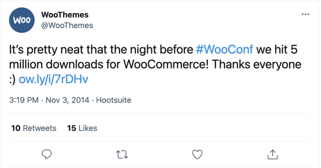 A tweet from WooThemes celebrating 5 million WooCommerce downloads