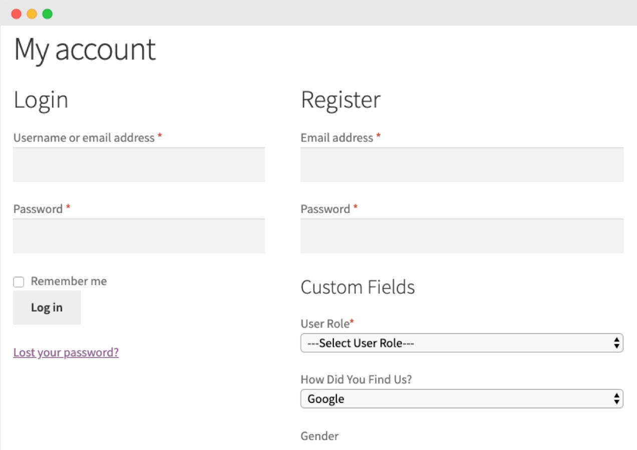 user role dropdown on a registration page