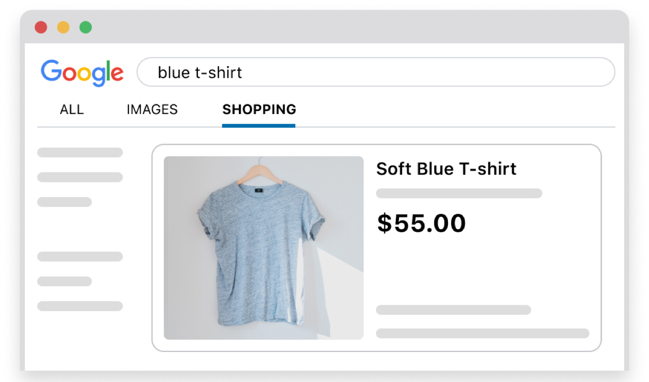 Google shopping ad for soft blue t-shirt