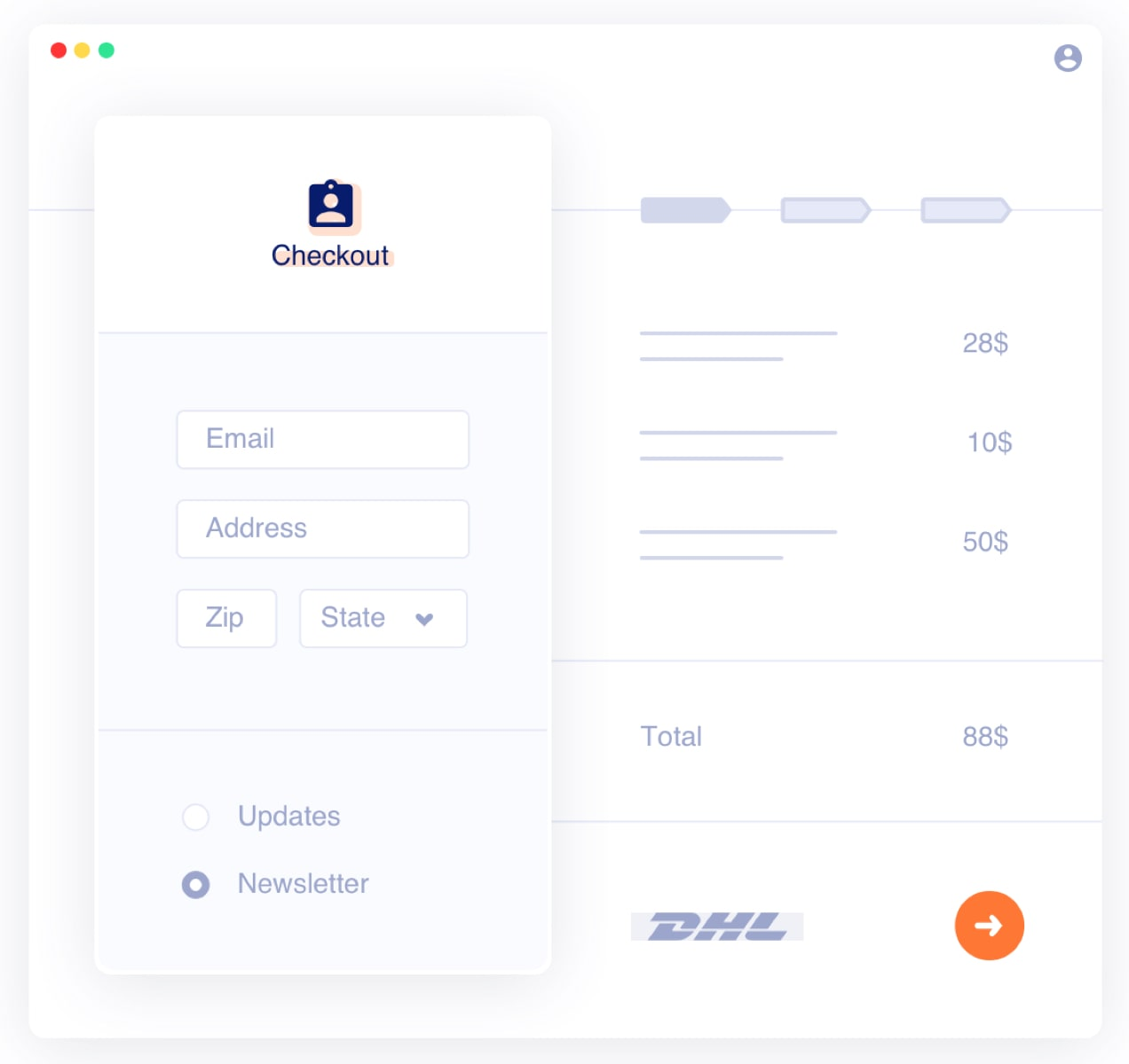 illustration of an email capture at checkout