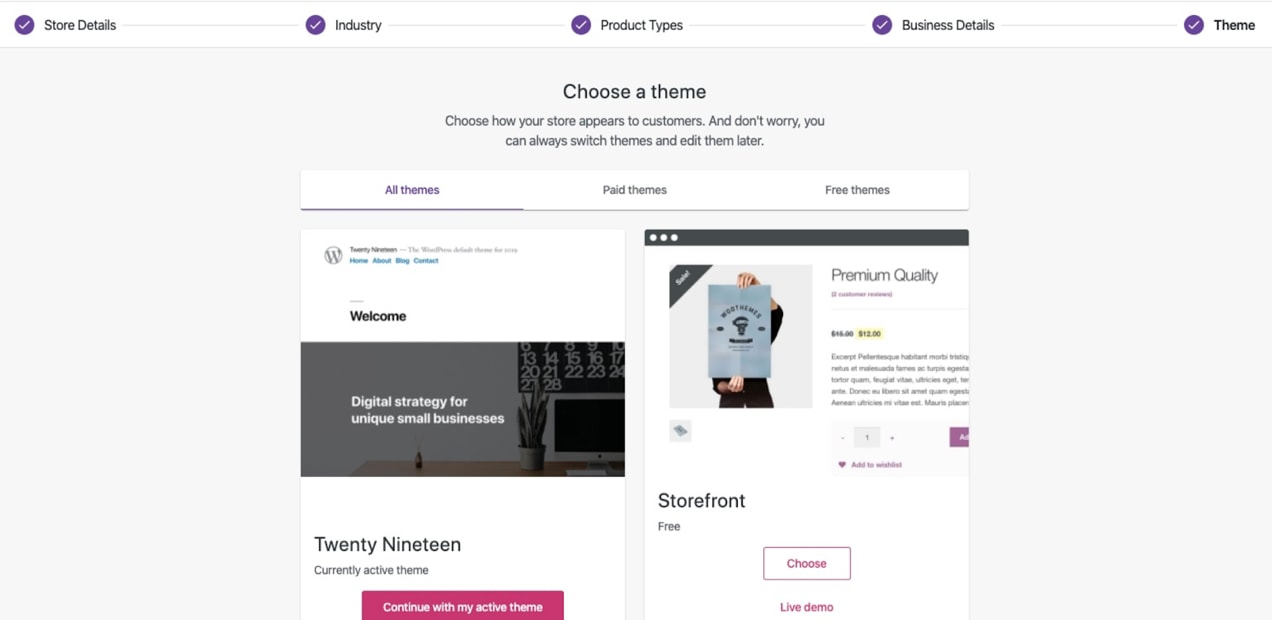 list of available themes for WooCommerce
