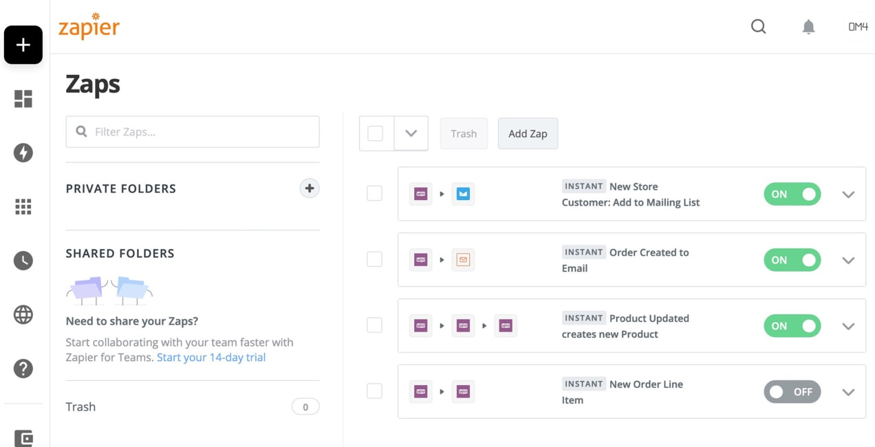 Zapier integrations set up for a WooCommerce store