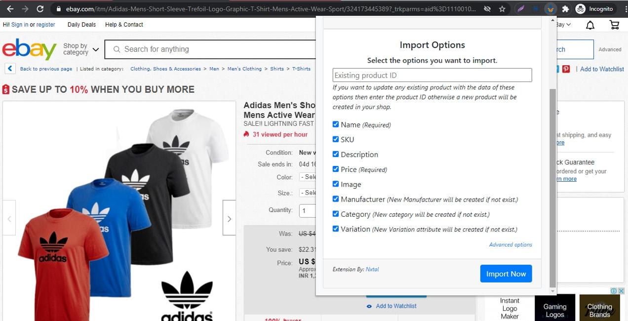 eBay product import settings
