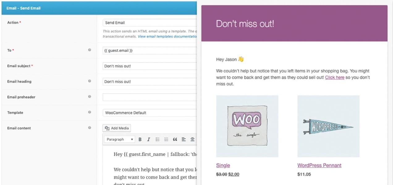 abandoned cart email set up with AutomateWoo