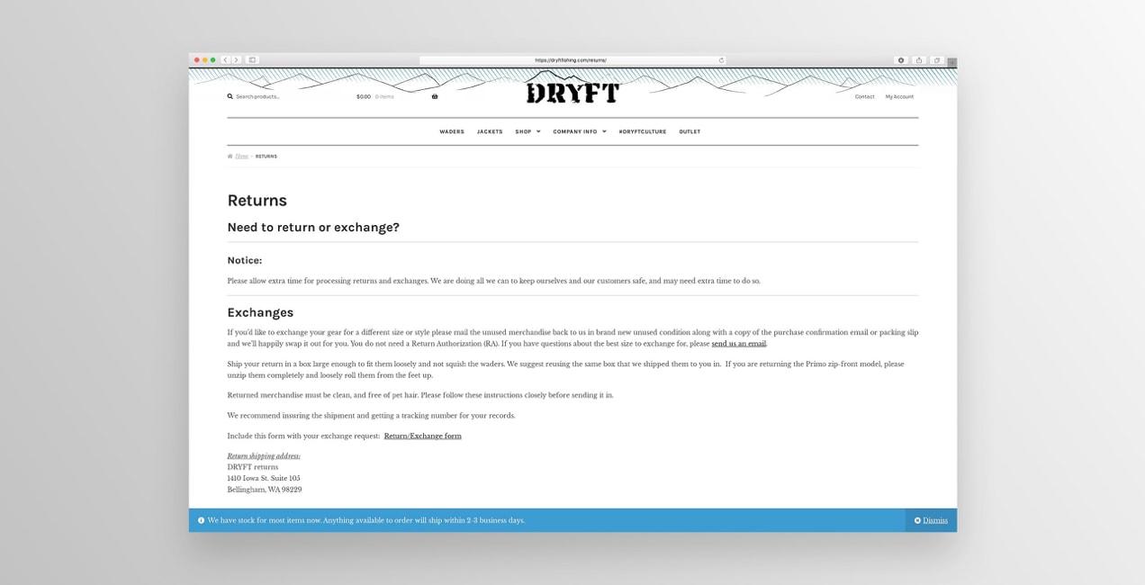 DRYFT Fishing return policy