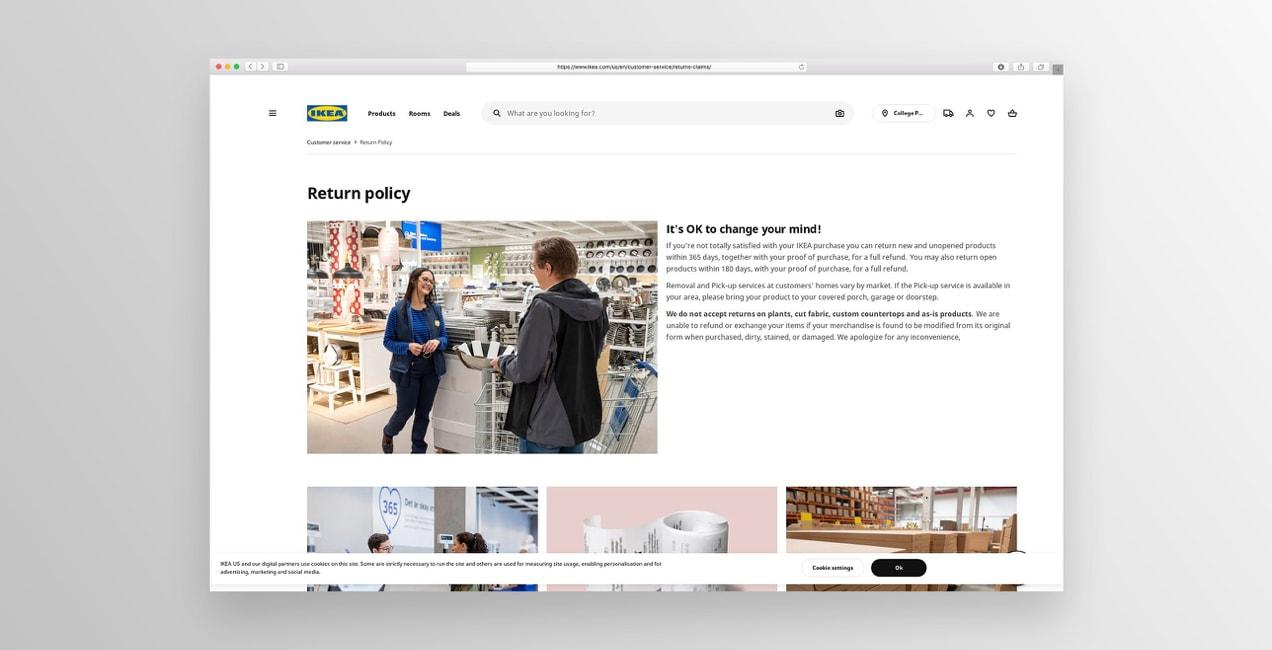 IKEA return policy page