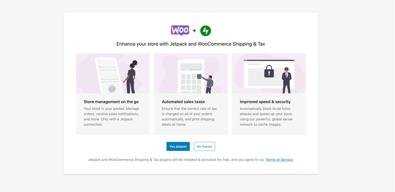 screen in the Setup Wizard asking you to enable WooCommerce Shipping and Tax