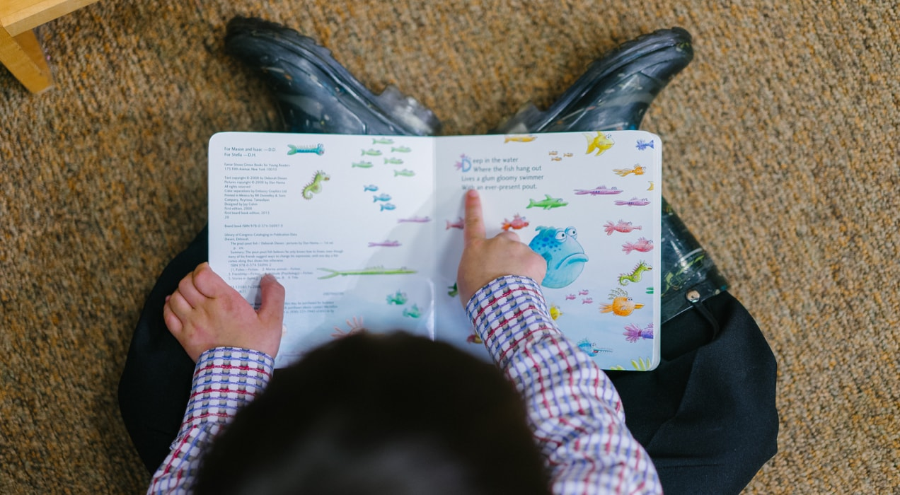 child on the floor reading a book about fish