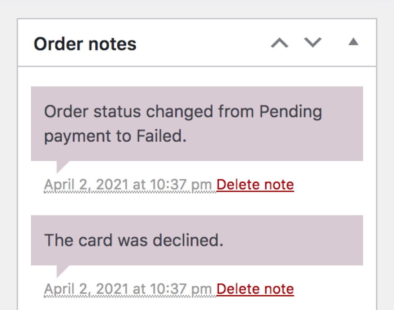 order note showing a declined card and failed order