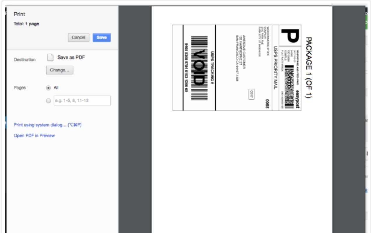 print screen for shipping labels