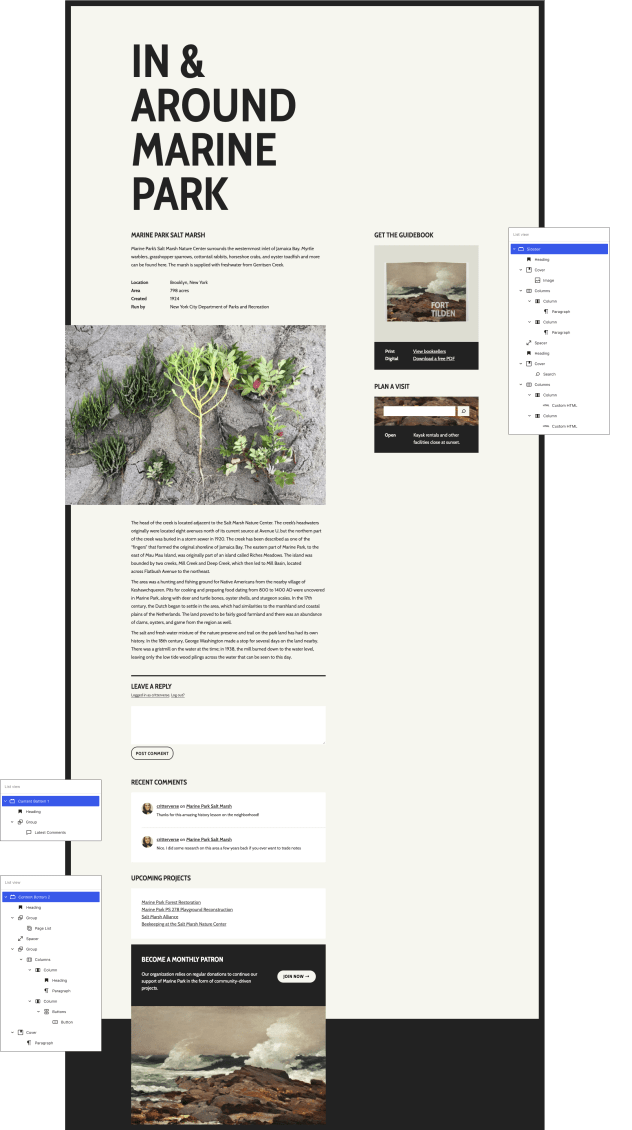 A zoomed-out view of a single post with one sidebar widget area and two footer widget areas. The site content is about Marine Park Salt Marsh. A List View of blocks floating next to each widget area shows how the design is constructed.