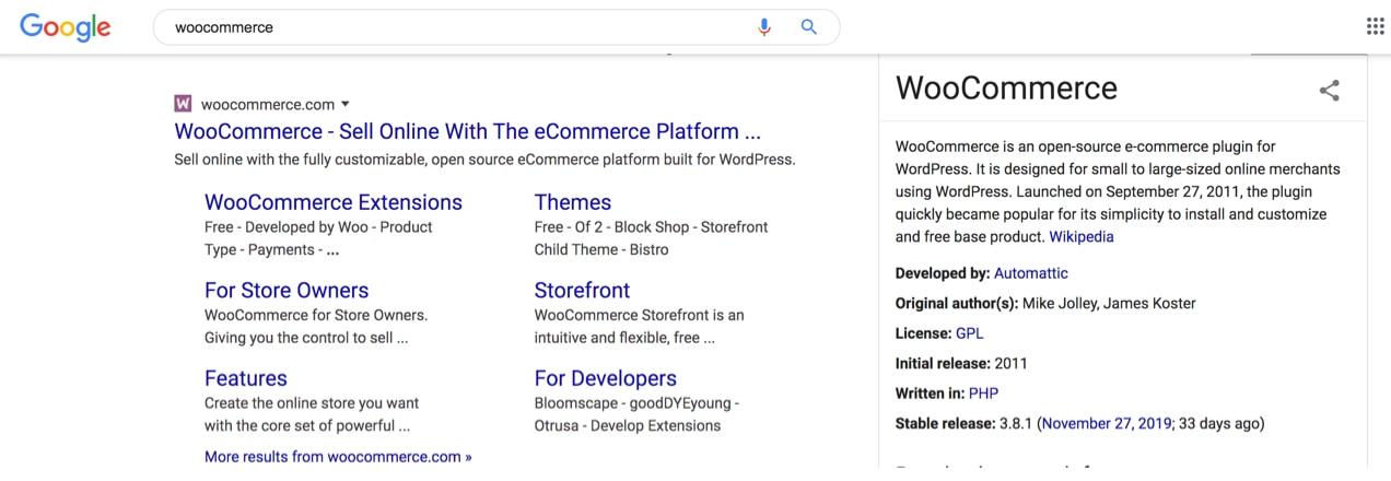 sitelinks on Google for the WooCommerce website