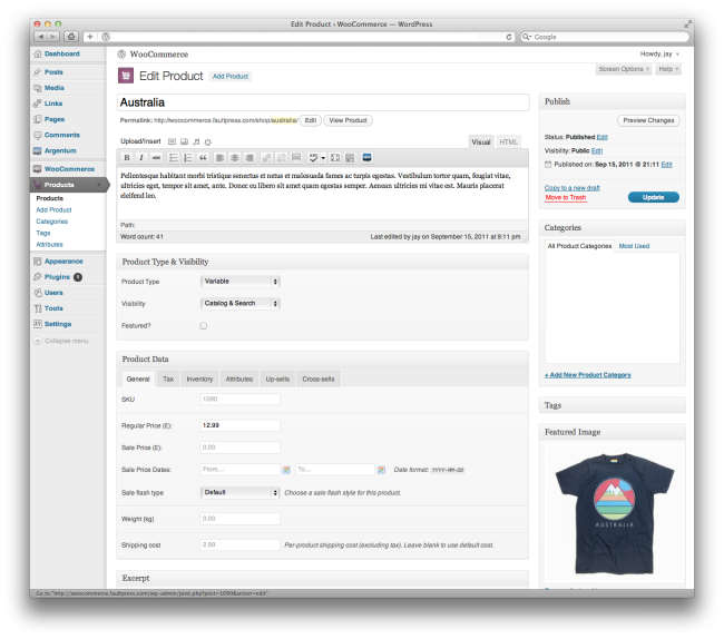 Product dashboard from WooCommerce 1.0
