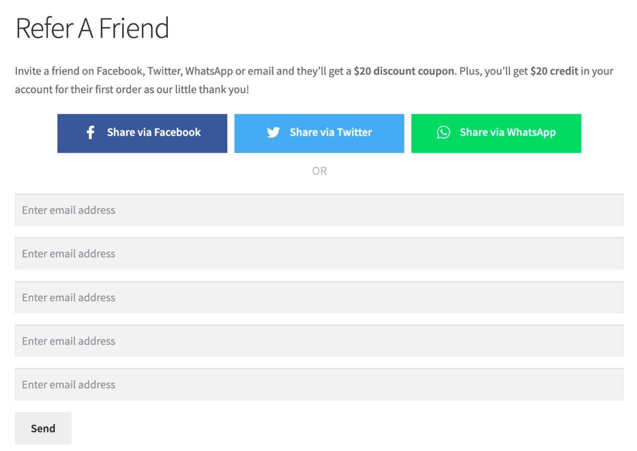 refer a friend form with options to share via social media or email