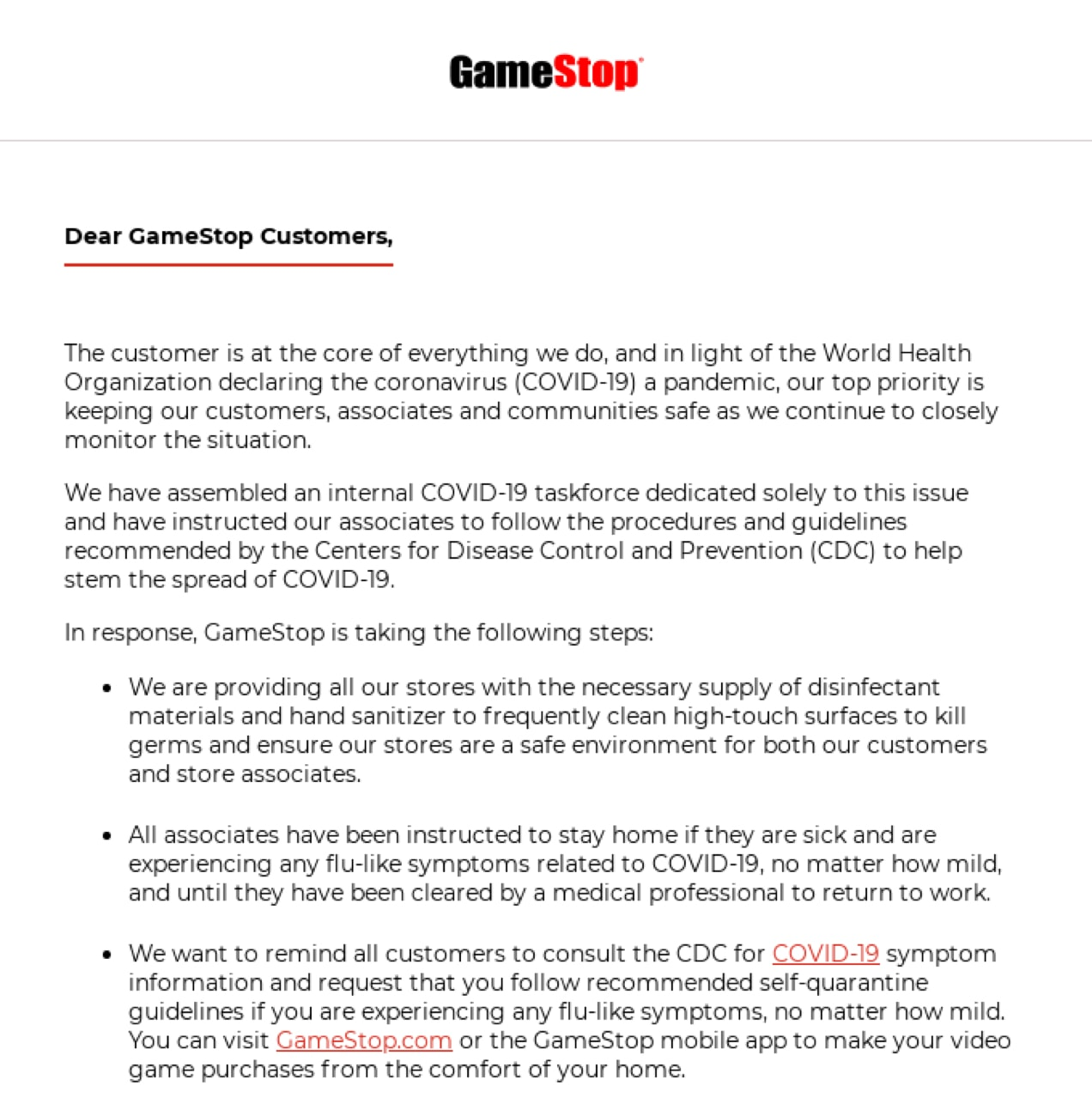 a text-based email from GameStop addressing the COVID-19 pandemic
