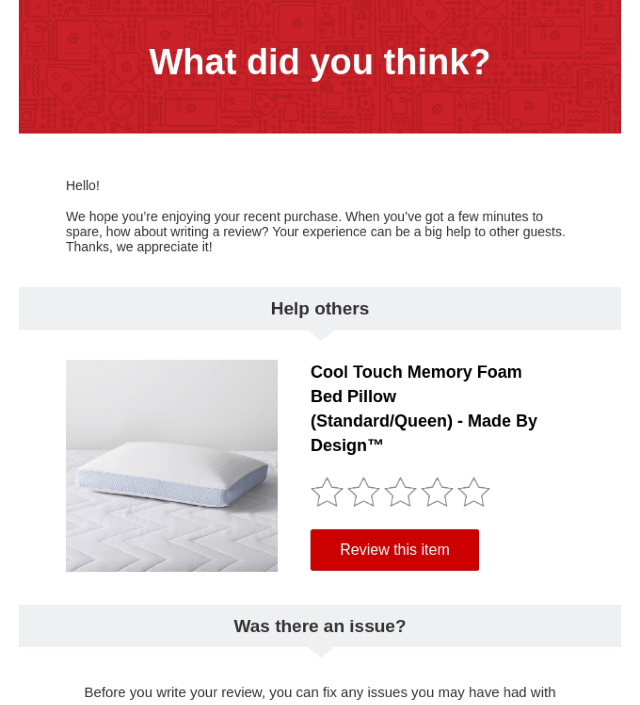 Target email asking for a product review of a memory foam bed pillow