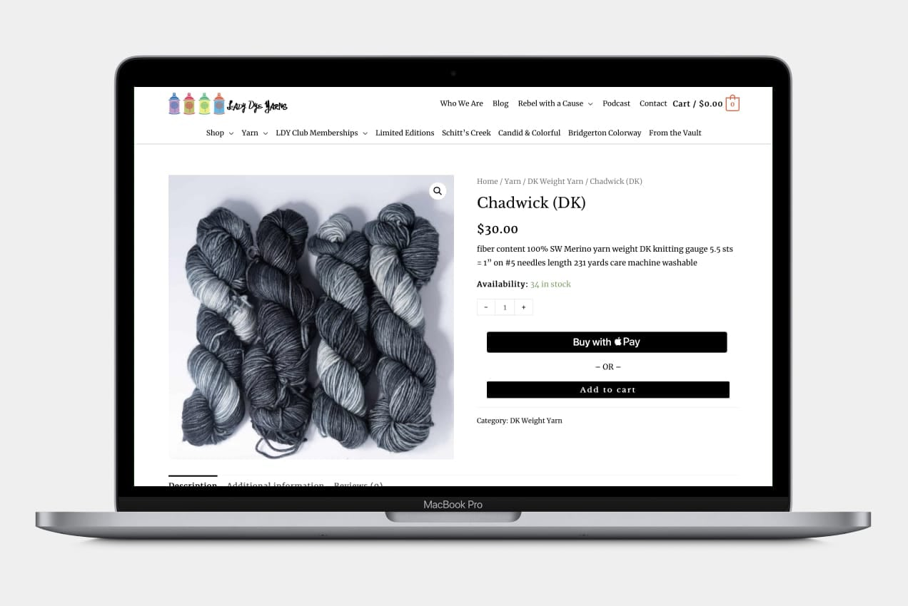 Apple Pay options displayed on one of Lady Dye Yarn's products