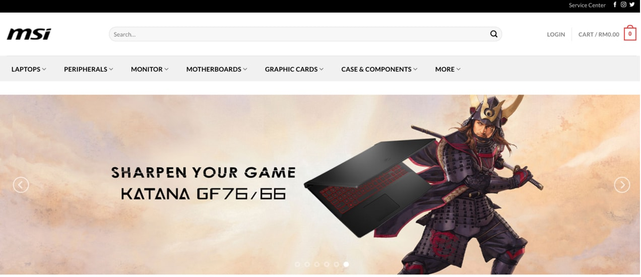 https://mystore.msi.com/ slider with varied text placement on each slide
