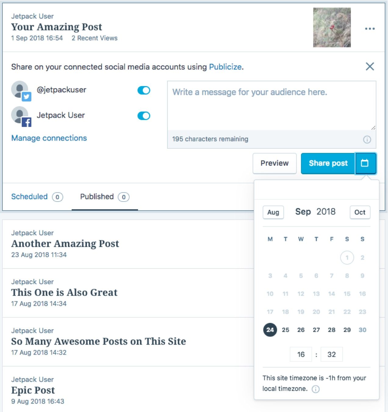 scheduling social media content with Jetpack