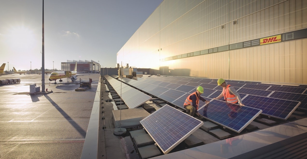 DHL warehouse with solar panels