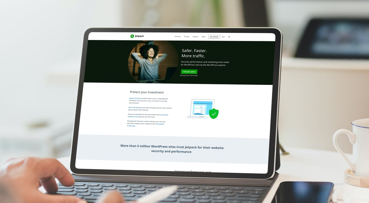 Jetpack homepage with details about available tools and packages