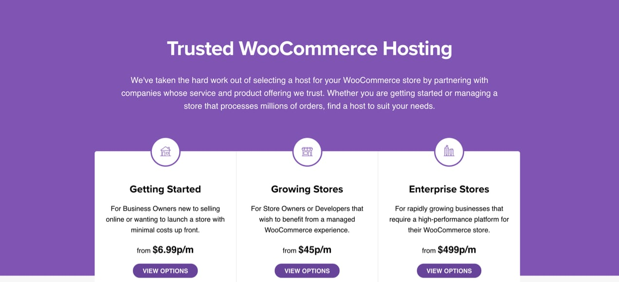 WooCommerce recommended hosting page with suggestions for stores of all sizes