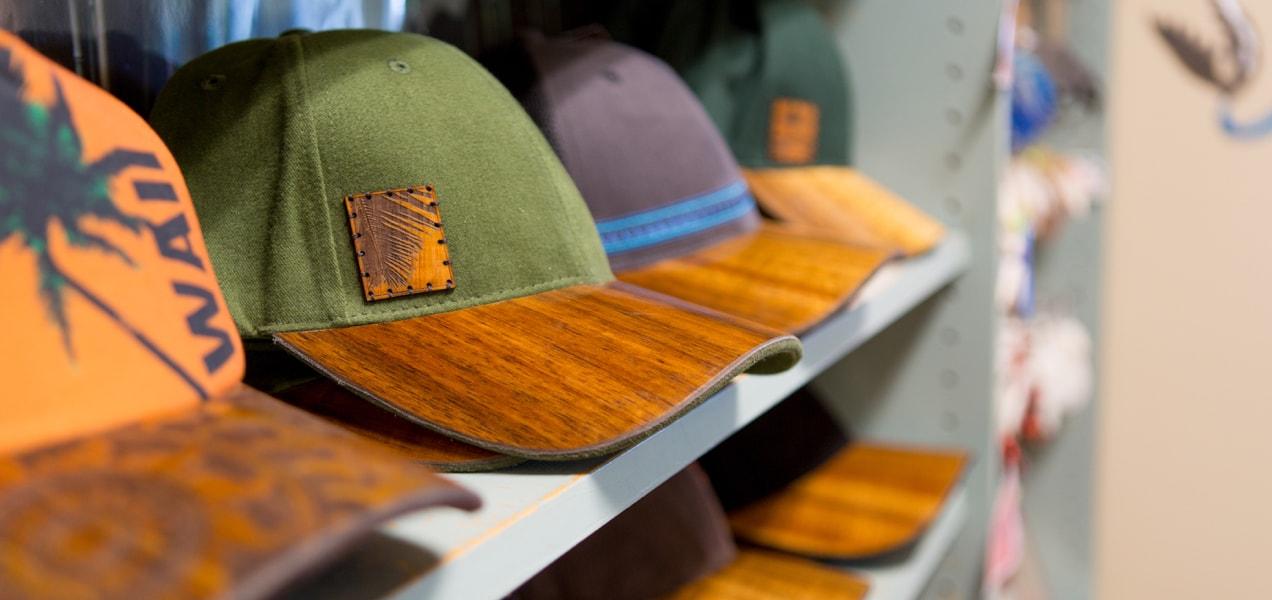 hats sitting on a shelf